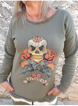 sweat skull kaki banditas Sweat vetement et accessoires femme