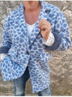 manteau girafe bleu april vintage Manteaux vetement et accessoires femme