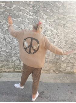 gilet peace camel april vintage Nouveautés vetement et accessoires femme
